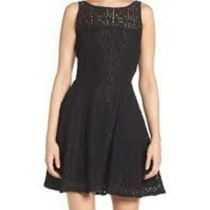 BB DAKOTA black lace fit and flare dress